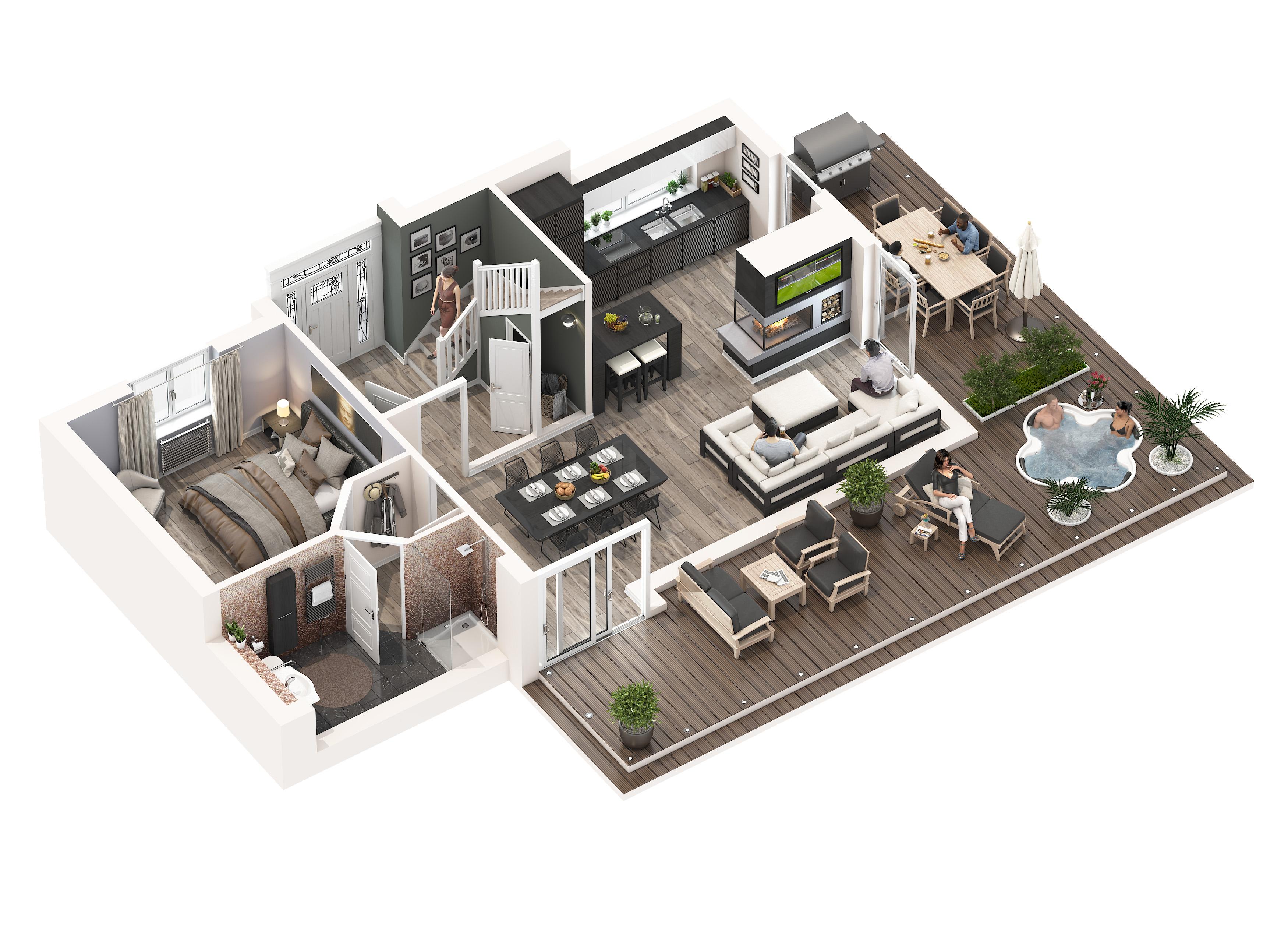 Grundriss villa 3d  M2-3D Berlin